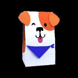 Papiertüte mit Hundegesicht